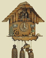 Chalet Chopping Wood Cuckoo Clock