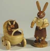 Mueller Mama Rabbit with Buggy Figurine