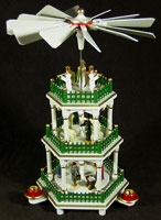 3 Level White with Color Christmas Pyramid